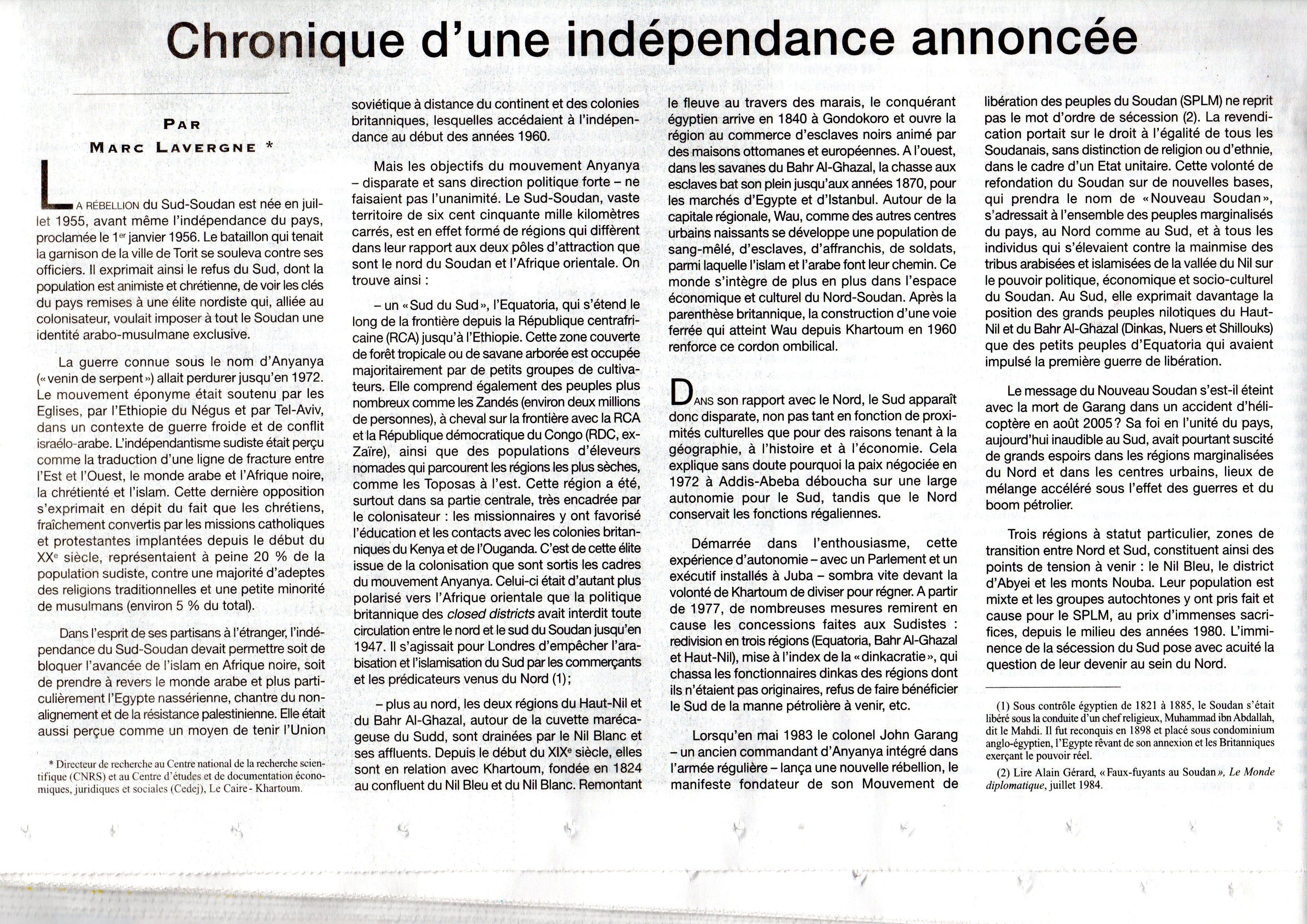 Chronique d'une indépendance annoncée